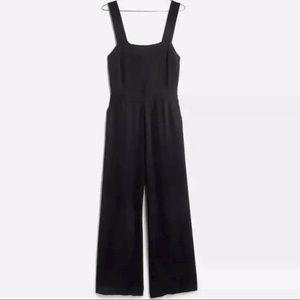 MADEWELL Apron Bow-Back Jumpsuit Black Sz 12 EUC